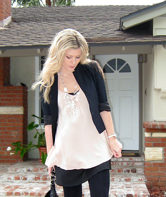 what I wore+Miguelina silk crepe top+Prada Chandelier Necklace diy -6