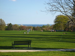 A spring day and the Long Island Sound in the distance