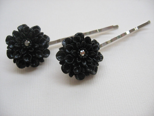 Black Dahlia Crystal Hair Pins