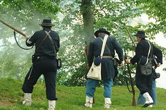 Confronting the Enemy (GoshenLisa) Tags: history army war kentucky battle historic civilwar soldiers battlefield reenactment reenactors livinghistory unitedstatesarmy battlefields blueandgray civilwarsites civilwarreenactment warbetweenthestates civilwarbattlefield battlereenactment unionsoldiers battleline civilwarsite fortduffield civilwarsoldiers reeanctment federalarmy civilwarbattlereenactment civilwarreenctment cwpt10p