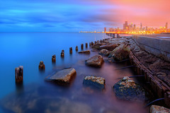 (Kevin Dickert) Tags: city longexposure sky urban lake chicago water skyline night clouds buildings twilight rocks cityscape waterfront skyscrapers dusk towers shoreline wideangle seawall lakemichigan nighttime shore bluehour hdr highdynamicrange lakefront highrises gettyimages nightfall density urbanity canonef1740mmf4l canon5dmarkii iamhydrogen kevindickert