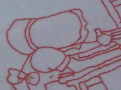 Meus pontinhos (Redwork) (Ronronando) Tags: vermelho bordado redwork pontinhos sunbonnet ronronando pontoatrs