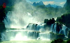 (Snow Flakes99) Tags: blue sky cloud white mountain tree green nature water waterfall scenery splash distance far spattering