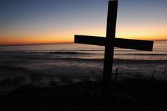 2 Crosses at Surfers Memorial site, Bodhisattva Beach near Pillar's Point / Mavericks, Pacific Coast, California, USA