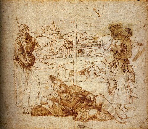 1504  Raphael    Cartoon for An Allegory, Vision of a knight  Pen and brown Ink  ltBibliothèque municipale