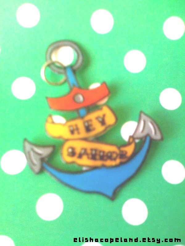 "Custom ""hey sailor"" anchor pendant"