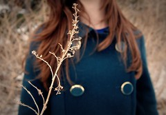 if winter ends (SHIYA) Tags: flowers winter green girl field dead branch coat twig d40