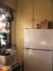 "Our kitchen: the current ""functional"" corner (litlnemo) Tags: kitchen restoration refrigerator craftsman bungalow cabinets cupboards artsandcrafts builtin notoriginal"