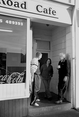 Tea Break (fiona.alton) Tags: people blackandwhite bw woman man cup coffee sign cafe break tea cigarette darlington cocacola nikond80