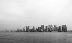 NYC (PJSherris) Tags: nyc newyorkcity sky bw newyork water skyline harbor blackwhite olympus olympusc4040z c4040z