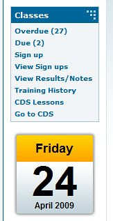 Screenshot of Classess module showing 'CDS Lessons' and Therap calendar.
