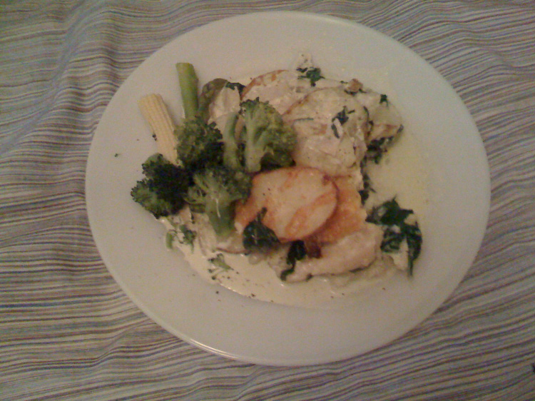 Dauphinoise potatoes with fish and broccoli