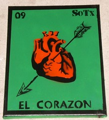 green lotteria card - el corazon (So Tx) Tags: streetart green cards graffiti stencil paint texas spray mexican popart spraypaint chalupa sotx lotteria rgv