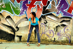 graffiti girl (Scarleth White) Tags: blue portrait brown white hat upload graffiti nikon flickr colours photoshoot weekend krista d90 scarleth
