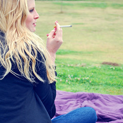 Caution: Cigarette Smoking May be Hazardous to Your Health (Amanda) Tags: colors girl grass friend pretty cigarette smoke may smoking blanket blonde tobacco