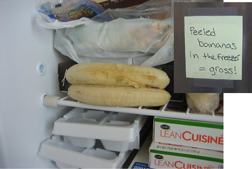 Peeled bananas in the freezer = gross!