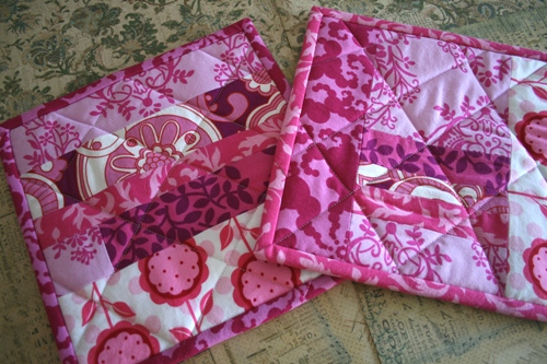 pink quilted potholder