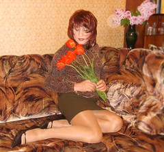 Julia with nice flowers (Julia Sweet) Tags: stockings beauty tv high cd tgirl transgender tranny transvestite heels trans shemale crossddresser