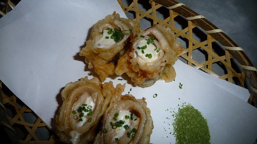 Anago & Cream cheese tempura with wasabi salt at Zenkichi