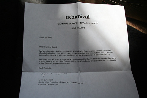 Carnival Elation - Itinerary Change Letter