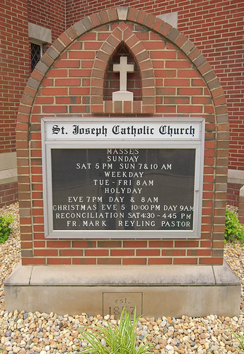 Saint Joseph Roman Catholic Church, in Freeburg, Illinois, USA - sign