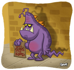 Will Scare For Food (bob canada) Tags: canada art monster illustration photoshop computer painting humorous drawing cartoon bob beggar sidewalk cardboard comicbook illustrator economy panhandler bobcanada