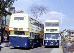 A new Bristol VR breaks down in the middle of the road, 1974 (Walsall1955) Tags: bristol vrt breakdown vr jumbo parkroyal wolverhampton mcw prv 4379 3989 metrocammell bristolvr wmpte westmidlandspte brokendownbus cannockroad jumbofleetline tob989h nob379m bristolvr2bristol