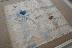 Damp Stretching (ivoryblushroses) Tags: flowers blue white bunny leaves birds collage hearts quilt linen lace silk pale woven scraps cloth weaving stretching strips