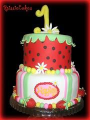 Hayley's 1st Birthday Cake (KrissieCakes) Tags: birthday cake kids strawberry daisy strawberryshortcake