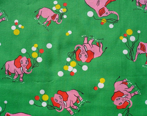 vintage fabric - pink elephants with balloons