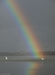 Rainbow reflected (ExeDave) Tags: uk england rain river landscape boats shower rainbow january estuary explore coastal devon gb yachts raining spa 2009 soe waterscape exe starcross blueribbonwinner slightcrop interestingness500 exeestuary sssi teignbridge mywinners moreorlessastaken