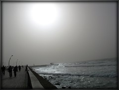 Wintry Saturday on the Boardwalk (blind_donkey) Tags: winter sea sun beach fog israel telaviv mediterranean israeli mediterraneansea flickraward top20israel oneofmypics top20telaviv