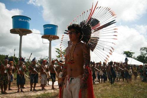 Indigenous groups from the Brazilian Amazon participate in their own opening ceremonies