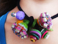 Felt flower necklace-bracelet (woolly  fabulous) Tags: flower wool felted pin recycled oneofakind brooch felt multicolored beaded