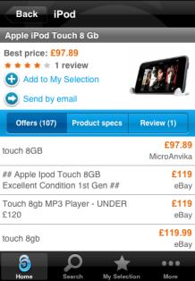 Twenga mobile price comparison