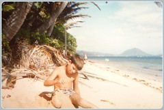 1959 Hawaii - Pete on the beach near our house (emmdee) Tags: