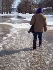 Walking to grandmas (legallyglinda) Tags: ice pain hurt flood shins 2009 bruises westfargo sheyenneriver