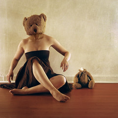 masquerader (brookeshaden) Tags: bear selfportrait mask teddy remove stuffedanimal murder actor masquerade indulgence false transform imitate decapitated nikond80 methodacting brookeshaden
