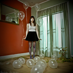 When we laugh indoors the blissful tones bounce off the walls and fall to the ground. (laurenlemon) Tags: portrait art girl photoshop balloons square photography mirror lyrics interestingness tights skirt outtake deathcabforcutie deadflowers testshot lighttest explored thisisnotaselfportrait canoneos5dmarkii laurenrandolph laurenlemon brittanysterling