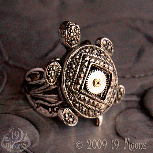 TURTLE DREAM Vintage Steampunk Ring ORIGINAL by 19 Moons