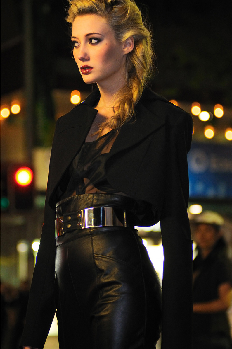 Black Leather Pants and Chrome belt by Chris Morro, Night Fashion on George St Sydney