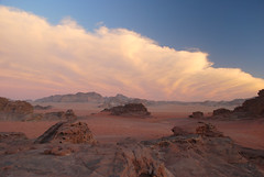 Desert At Sunset - Wadi Rum, Jordan (glazaro) Tags: pink blue sunset red sky white clouds landscape sand rocks desert east jordan rum middle wadi lpsky lpbest2009
