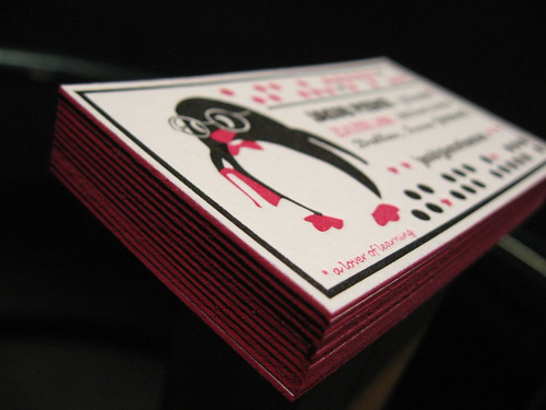 Smart Penguin Letterpress Cards - Edge Painting