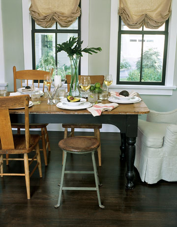 Gray dining room: Rustic details + mismatched chairs in Ohio farmhouse