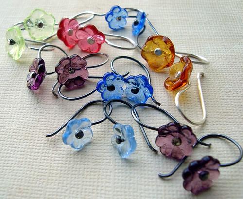 In Bloom earrings -  vintage glass flowers