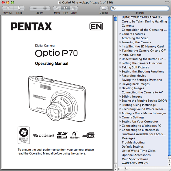 Pentax P70 Manual