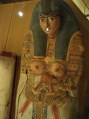 Roman or Late Period Mummy (meechmunchie) Tags: ancient egypt egyptian sarcophagus mummy coffin dynasty funerary 22nd ancientegypt libyan priesthood papacy cartonnage newkingdom 21stdynasty mummycase 22nddynasty psusennes herihor yellowtype rammeside