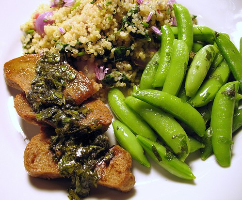 quinoa with braised radishes, radish greens, and flowering chives; seitan with lovage sauce; steamed snap peas with lemon balm