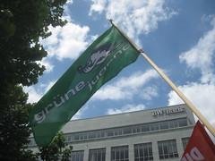 Grüne-Jugend-Fahne bei der Zensursula-Demo in Stuttgart