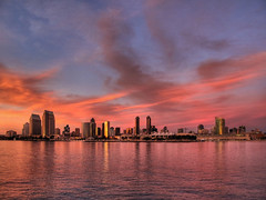 San Diego Skyline (zoltaan) Tags: california city sunset urban reflection tower ferry skyline club skyscraper marina marriott manchester hotel bay harbor pier twilight san downtown cityscape dusk diego grand landing hyatt coronado hdr
